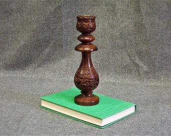 Vintage Hand Carved Wood Candlestick