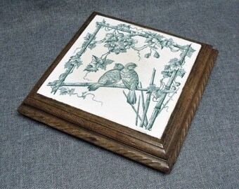 Antique French Large Ceramic Tile Trivet