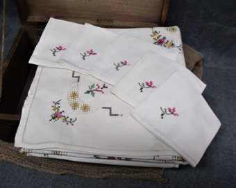 Vintage French Breton Hand Embroidered Table Linen Set