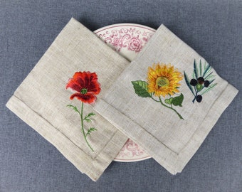 Pair of Vintage French Linen Embroidered Napkins