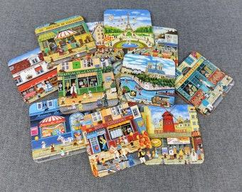 "Vintage French Coasters ""La Vie Parisienne"" - Set of 10"