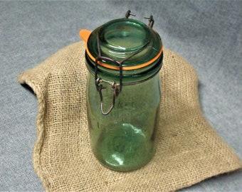 """Vintage """"L'IDEALE"""" Green Glass Canning Jar, 1 litre, 34 fl oz (US)"""