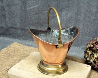 Small Vintage French Copper Coal Scuttle Planter