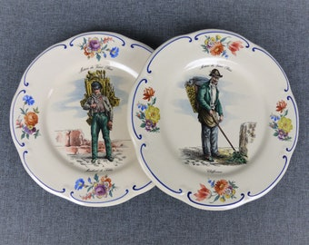"""Pair of Vintage French Ceramic Plates - """"Métiers de Vieux Paris"""""""