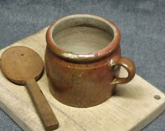 Antique French Small Earthenware Confit Pot