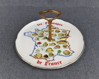 """Vintage French Ceramic Cheese Platter - """"Les Fromages de France"""""""