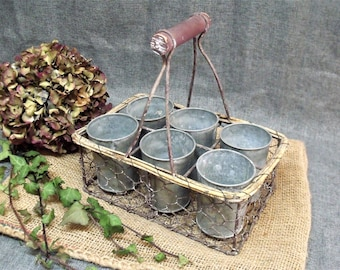 Vintage French Wire Basket & Planters