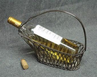Vintage French Silver Wireware Wine Caddy