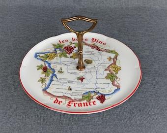 "Vintage French Ceramic Cheese Platter - ""Les Bons Vins de France"""