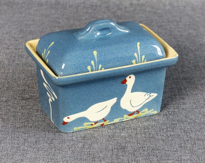 Featured listing image: Vintage French Farmhouse Ceramic Butter Dish