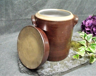 LARGE Antique French Stoneware Crock with Lid