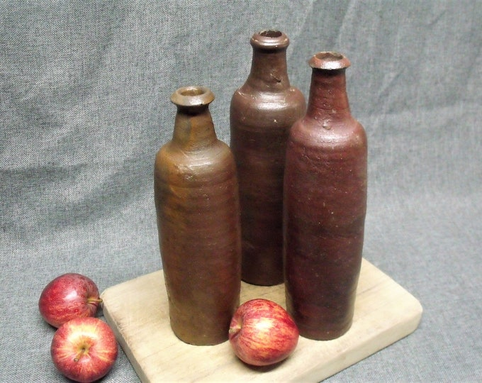 Featured listing image: 3 x Antique French Earthenware Bottles