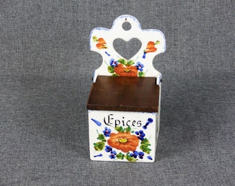 Vintage French Porcelain Spice Box