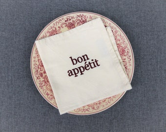 Set of 4 Vintage French Cotton Embroidered Napkins