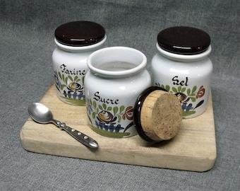 Vintage French Ceramic Kitchen Canister Set