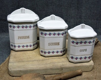 Antique French Art Deco Kitchen Canister Set