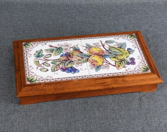 French Vintage Ceramic Tile Trivet