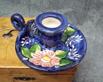 Vintage Handmade Pottery Chamberstick