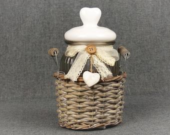 French Shabby Chic Cottage Storage Jar