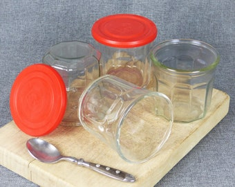 4 x Vintage French Faceted Glass Jars