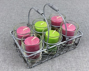 Rustic French Wire Basket & Voltive Candle Set