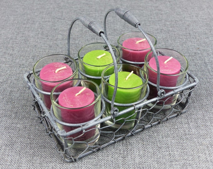 Featured listing image: Rustic French Wire Basket & Voltive Candle Set