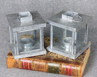 Pair of Vintage French Country Tealight Candle Lanterns