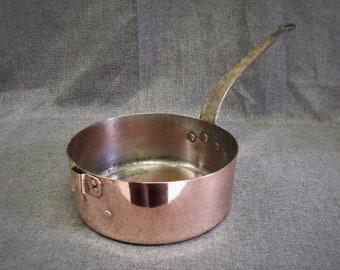 Vintage French Large Copper Sauté Pan