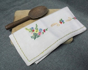 Vintage French Breton Hand Embroidered Tablecloth