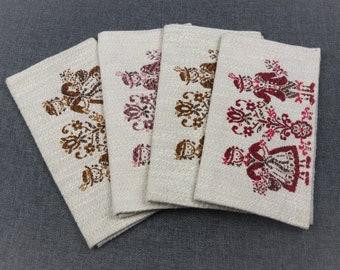 Vintage Embroidered Linen Napkin Cases - Set of 4
