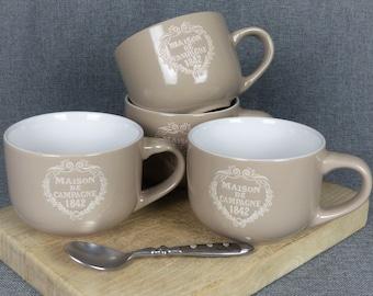 Large French Farmhouse Latte Mugs - Set of 4