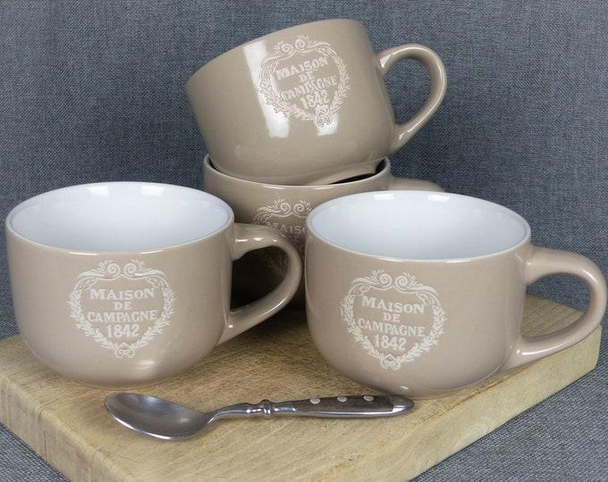 Featured listing image: Large French Farmhouse Latte Mugs - Set of 4