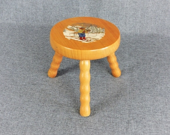 Vintage French Child's Wooden Stool