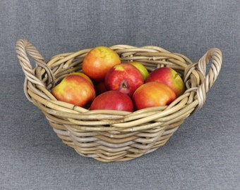 Vintage French Wicker Harvest Basket