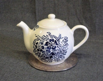 Vintage Blue Stencilware Teapot