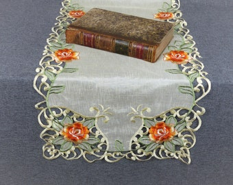 Vintage French Embroidered Lace Table Runner