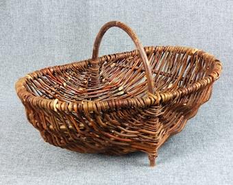 Vintage French Wicker Foraging Basket