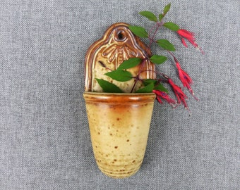 Rustic French Stoneware Pottery Wall Pocket Vase
