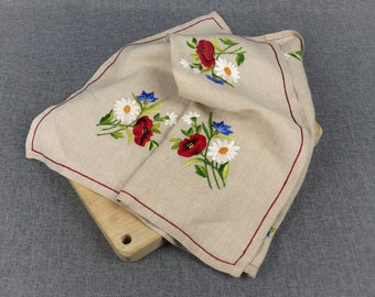 Small Vintage Breton Hand Embroidered Tablecloth