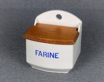 Vintage French Ceramic Flour Box