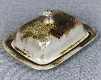 Vintage French Handmade Pottery Butter Dish