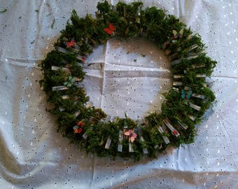 spring time, easter, gift, mothers day,moss covered with butterflies wreath or centerpiece