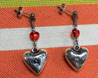 "Valentines Earrings, Sterling Silver Heart Shape dangling earrings  1 1/2"" length  with fire red bead accent."