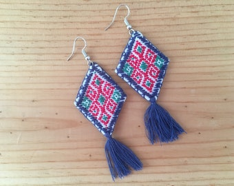 Chenalho Chiapas Earrings Aretes Mexicanos Hechos a Mano Handmade Fabric Embroidered Mexican Earrings Mexican Huipil Earrings