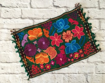 Handmade Floral Embroidered Mexican Placemat Yellow Hand Woven Fiesta Decor