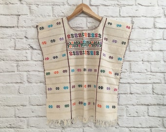 Black Traditional Mexican embroidered Huipil blouse Oaxaca