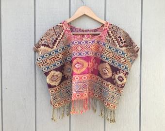 Blusa Artesanal Mexican Hippie Blouse Hippie /& Boho Crop Top Women/'s Handmade Woven Mexican Crop Top One Size Bohemian Blouse
