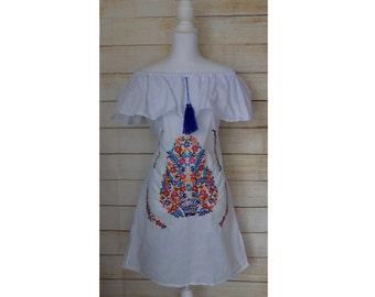 75fb5e28e82 Womens Mexican Dress - Embroidered Dress - Off the Shoulder Dress -  Bohemian Dress - White Mexican Dress - Mexican Fiesta - Mexican Wedding