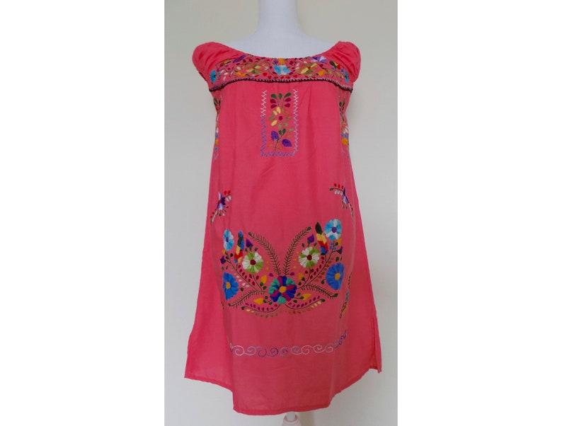 6a6d773dd8 Mexican Peasant Dress Coral Pink Mexican Dress Floral