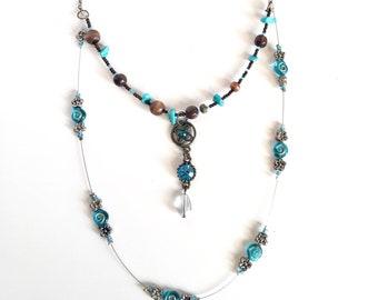 Blue glass beaded necklace | Blue boho necklace | Turquoise gemstone necklace | Blue and brown necklace | blue diamanté necklace |